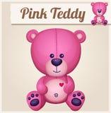 rosa nalle för björn den främmande tecknad filmkatten flyr illustrationtakvektorn royaltyfri illustrationer