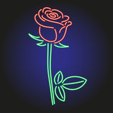 Rosa neon som glöder på mörk bakgrundsvektorillustration Royaltyfri Foto