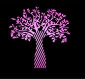 Rosa Neonbaum des Lebens auf einem schwarzen Hintergrund Schöne Skizzentätowierung lizenzfreie abbildung