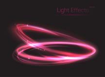 Rosa neonovals eller cirklar för ljus effekt royaltyfri illustrationer