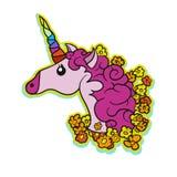 Rosa netter Unicorn Patch Design vektor abbildung