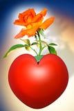 Rosa no coração Imagem de Stock