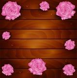 Rosa no fundo de madeira Imagens de Stock