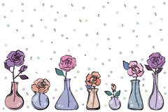 Rosa nos tubos de exame m?dico ilustração stock