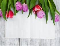 Rosa nya tulpan och anteckningsbok Arkivbilder