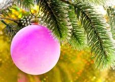 Rosa nytt års bollar på en filial av jul tree.close upp på en gul bakgrund Royaltyfri Fotografi