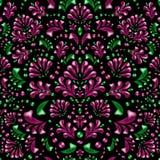 Rosa och gröna buskar, filialer och sidor på en svart bakgrund stock illustrationer