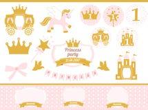 Rosa och guld- prinsessapartidekor Gulliga beståndsdelar för mall för kort för lycklig födelsedag Arkivfoton