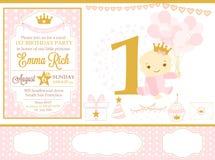 Rosa och guld- prinsessapartidekor Gulliga beståndsdelar för mall för kort för lycklig födelsedag Royaltyfri Foto