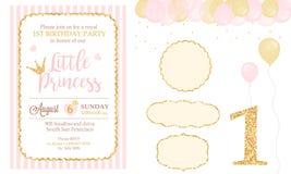 Rosa och guld- prinsessapartidekor Gulliga beståndsdelar för mall för kort för lycklig födelsedag Arkivbilder