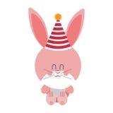 Rosa och gulligt behandla som ett barn kanin med hattpartiet Royaltyfria Foton