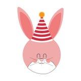 Rosa och gulligt behandla som ett barn kanin med hattpartiet Arkivbild