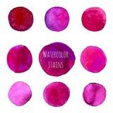 Rosa och purpurfärgade vattenfärgcirklar Arkivbild