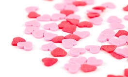 Rosa och röda hjärtor royaltyfri fotografi