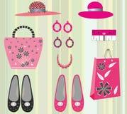 Rosa och svarta skor. Kvinna hattar och påsar Royaltyfria Foton