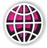 Rosa och trådsfär för vit 3D Arkivfoton