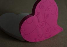 Rosa och vit hjärta Arkivfoton