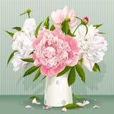 Rosa och vit pionbukett stock illustrationer