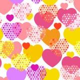 Rosa orange lila rotes gelbes Herz mit nahtlosem Muster des Tupfenherzens auf weißem Hintergrund Vektor Stockbilder