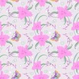 Rosa Orchideen und nahtloser Musterhintergrund des Schmetterlinges vektor abbildung
