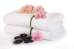 Rosa orkidér och brunnsortstenar Arkivfoto