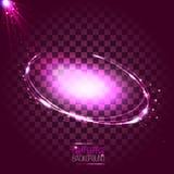 Rosa oval ram för abstrakt neon med stjärnor och signalljus Stock Illustrationer