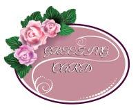 Rosa ovale romantische Grußkarte mit Rosen Lizenzfreie Stockfotos