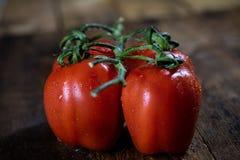 Rosa på smakliga italienska tomater, trätabell Arkivbilder