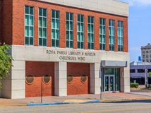 Rosa Parks Library and Museum Children`s Wing. Front facade of Rosa Parks Library and Museum Children`s Wing located in downtown Montgomery, Alabama with a blue Royalty Free Stock Images