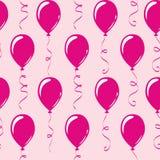 Rosa partiballonger för sömlös modell royaltyfri illustrationer