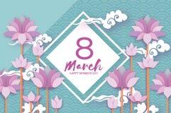 Rosa Pastell-Lotus Floral Greeting-Karte im Papier schnitt Art stock abbildung