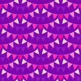 Rosa pastellfärgade buntingsgirlander som isoleras på violett bakgrund Sömlös modell för vektor i plan stil Designbeståndsdelar f vektor illustrationer