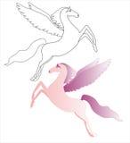 Rosa Pegasus Vektor Illustrationer