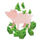 Rosa pengarspargris för svin med pappersgräsplandollar royaltyfri illustrationer