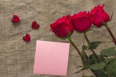 Rosa per il giorno del ` s del biglietto di S. Valentino Immagine Stock Libera da Diritti