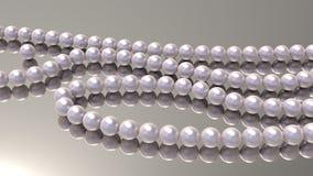 Rosa Perlenperlen auf einem Spiegelhintergrund 3d übertragen lizenzfreie abbildung
