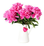 Rosa Pfingstrosenblumen im Vase Lizenzfreie Stockfotos