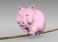 Rosa piggy auf dem Seil stock abbildung