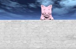 Rosa piggy auf der Wand stock abbildung