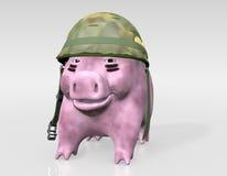Rosa piggy ist zum Krieg betriebsbereit lizenzfreie abbildung