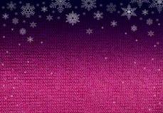 Rosa pinkfarbenes Wolle-knitwork mit Schneeflocken Lizenzfreie Stockbilder