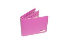 Rosa plånbok som isoleras på vit bakgrund Arkivfoton