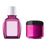 Rosa plast-flaskor royaltyfria foton