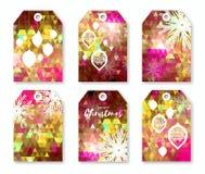 Rosa polygonal festlig samling av juletiketter med snöflingor Arkivfoton