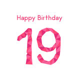 Rosa polygonal 19th lycklig födelsedag Royaltyfri Fotografi