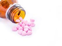 Rosa preventivpiller Fotografering för Bildbyråer