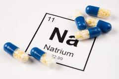 Rosa preventivpillerar med mineralisk Na-natrium på en vit bakgrund med Royaltyfri Fotografi