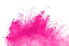 Rosa Pulverexplosionsisolat auf weißem Hintergrund Malen Sie Holi stockbild