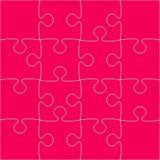 16 rosa Puzzlespiel-Stücke - Laubsäge - Vektor Lizenzfreie Stockbilder
