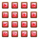 Rosa quadratische Knöpfe im Holzrahmenkarikaturvektorsatz lizenzfreie abbildung